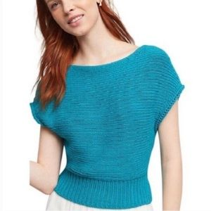 Anthro Moth Sweater Riverwalk Cropped Pullover